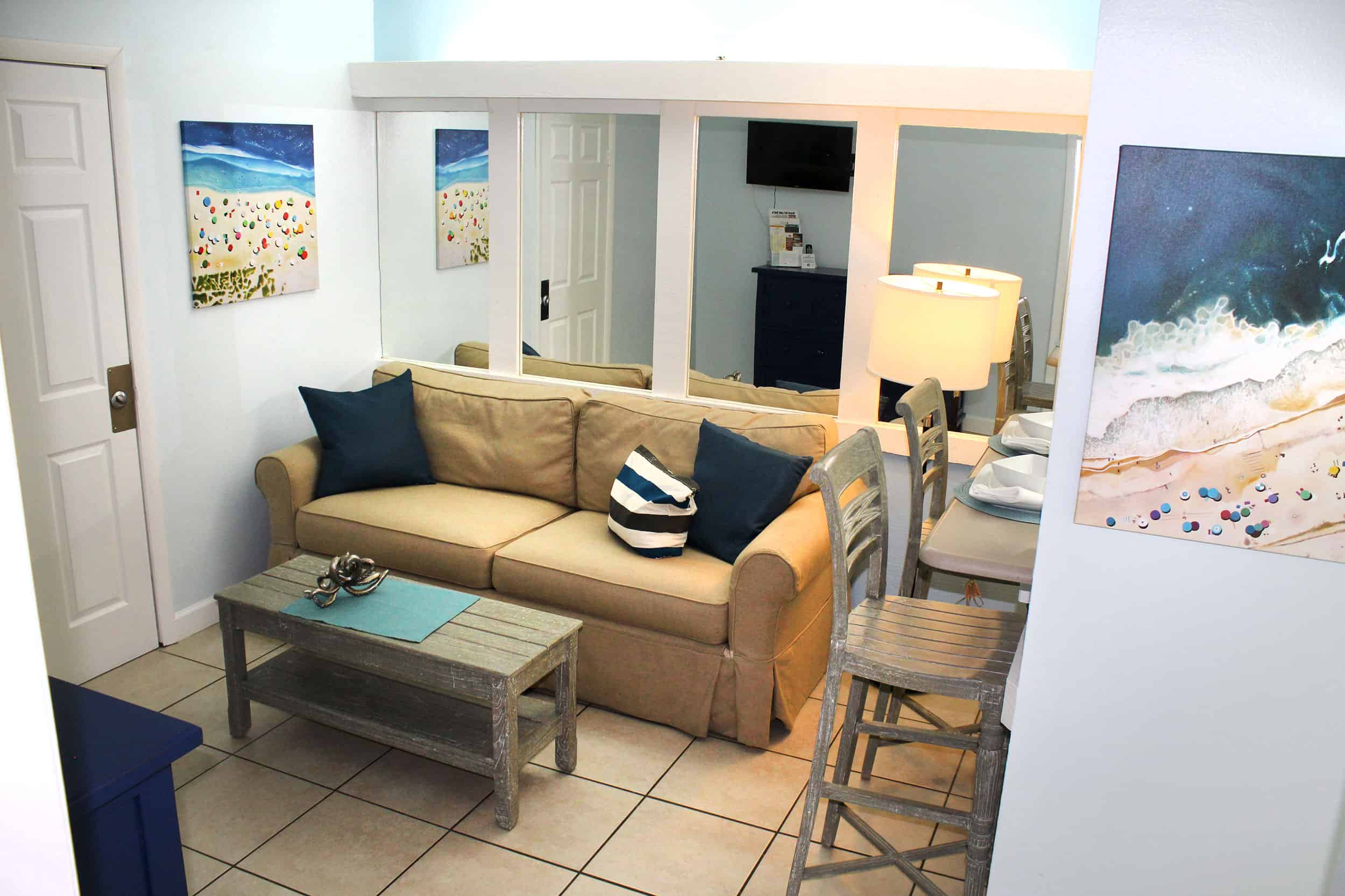Bay Inn Bedroom Suite | Living Room | Rooms Available